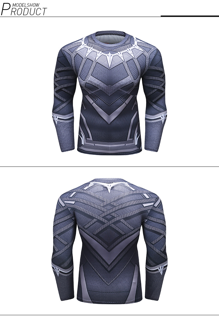 China Fabriek Marvel Spiderman Black Panther T-shirt 3D Afdrukken Mannen Kleding Sportkleding