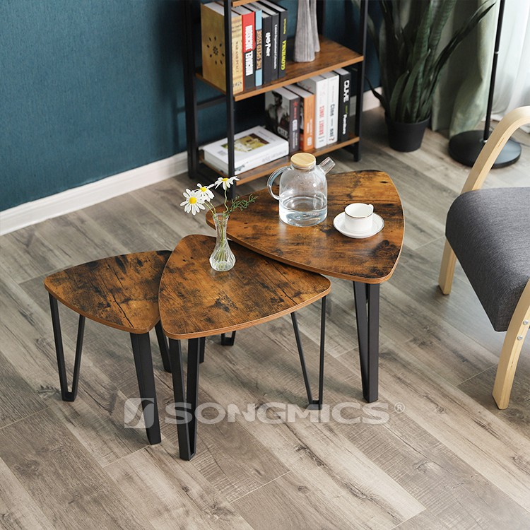VASAGLE cheap furniture modern industrial nest end tables,round wood nesting coffee table set