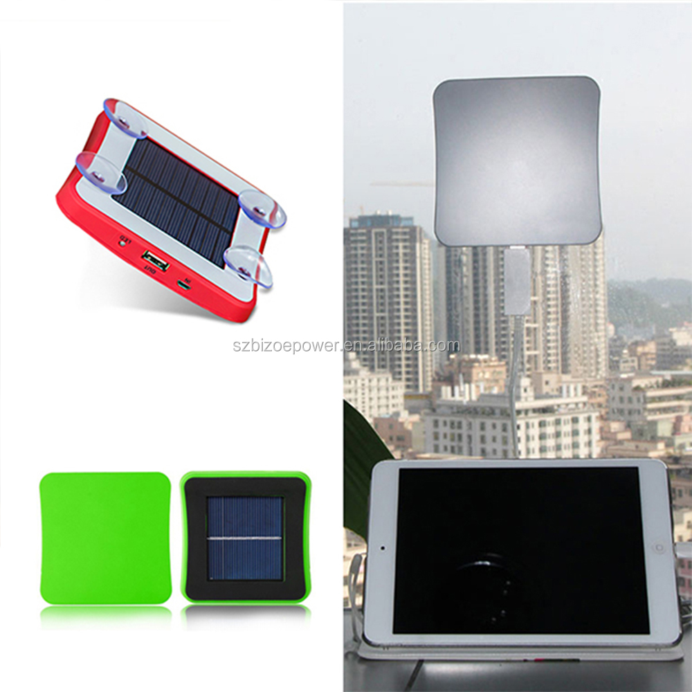 Portable Car Window Solar Charger Solar Panel USB Port Backup External Battery Power Pack for Smartphones Bluetooth Headset iPad