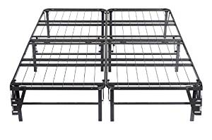 Kings Brand Queen Size Metal Bi-Fold Folding Platform Bed Frame Base Mattress Foundation