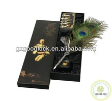 LOGO Design Purple Ostrich Feather Quill Pen Set/ Feather pen with metal stand