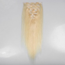 Wholesales100% Human Hair Low Price High Quality 613 Blonde Color Clip In Hair Extension