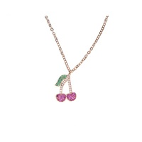 2017 fashion roes gold plated delicious fruit watermelon cherry summer fruit necklace