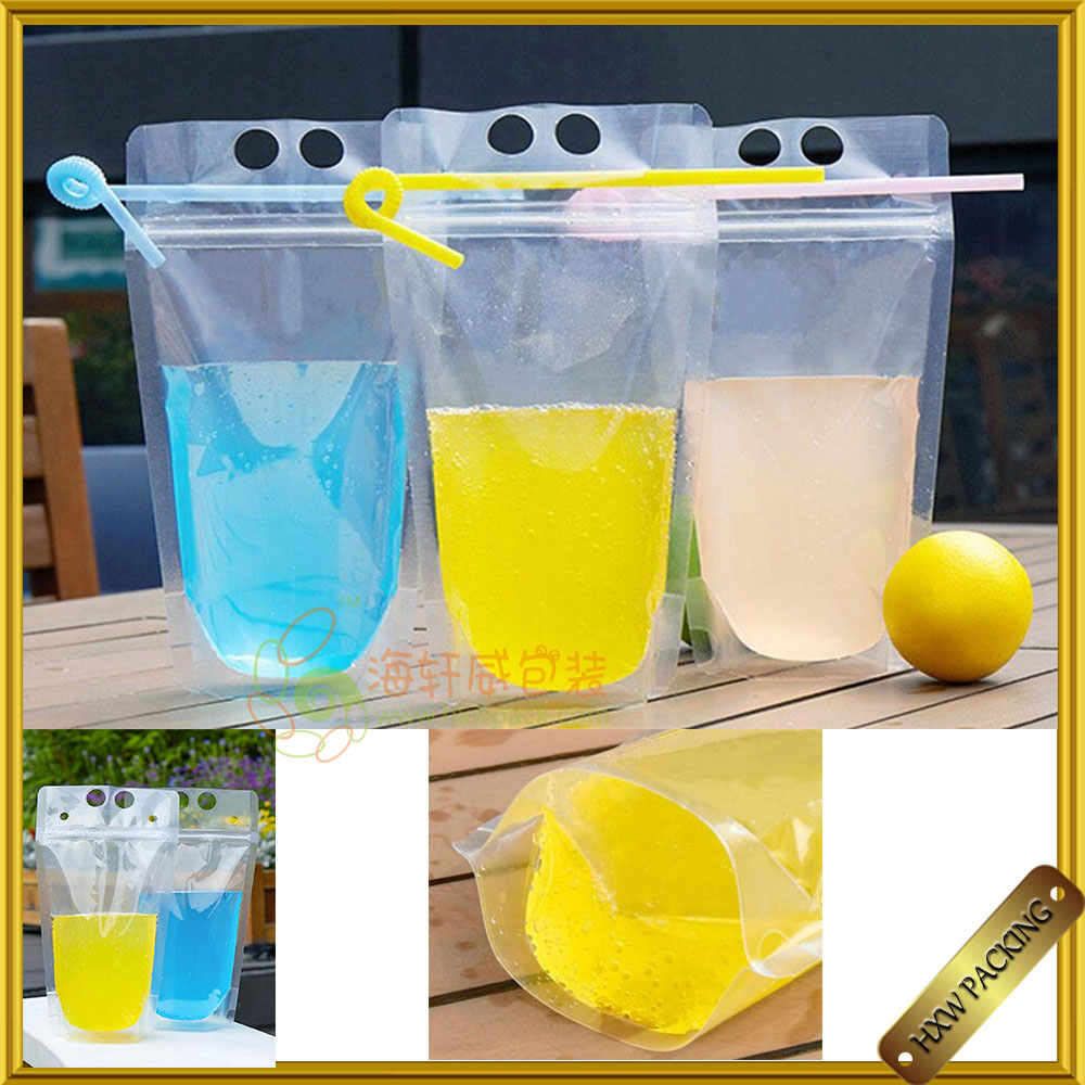 Stand Up Disposable Resealable Ziplock Clear drink pouch with straw for Lemonade, Iced Coffee, Any Cold Beverage, Cocktail