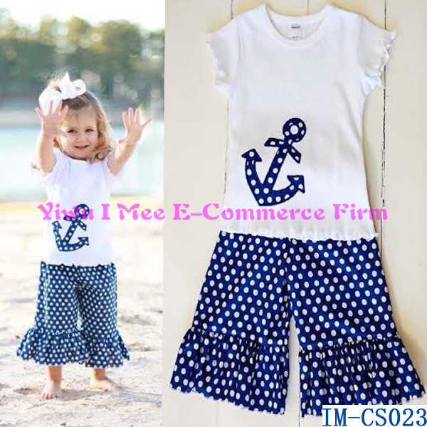 a0c0a9570c83 Factory Latest Baby Girls 4th Of July Ruffle Summer Outfits Navy Blue Bids  Top Blouse Sets
