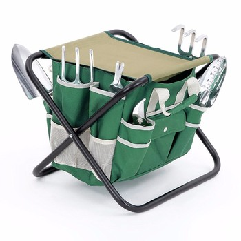 Newest Garden Tool Set Includes Garden Tote Folding Stool and 6 pcs Hand Tools