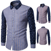 A3943 Mann button-down-kragen kontrollen shirts mens casual plaids kleid
