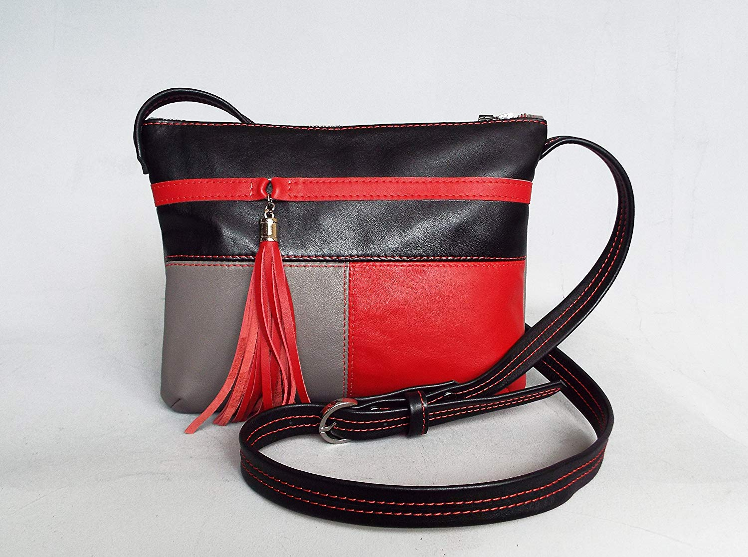 4f8391398d Get Quotations · Leather cross body bag. Red gray black leather bag. Small  leather tassel purse.