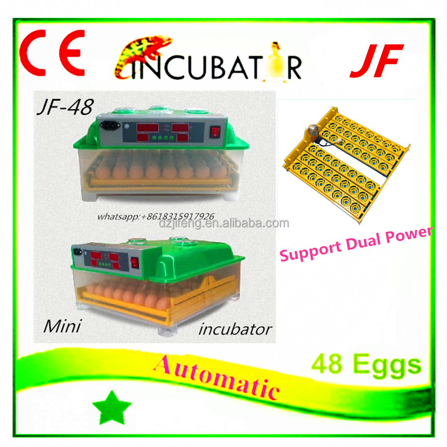 JF- 48 2016 full automatic 48 egg incubator ,new colorful,LED display,solar power ,goose,duck,pigeon