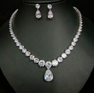 Teardrop Cubic Zirconia Gemstone Pendant Necklace Wedding accessories Bridal jewelry Sets