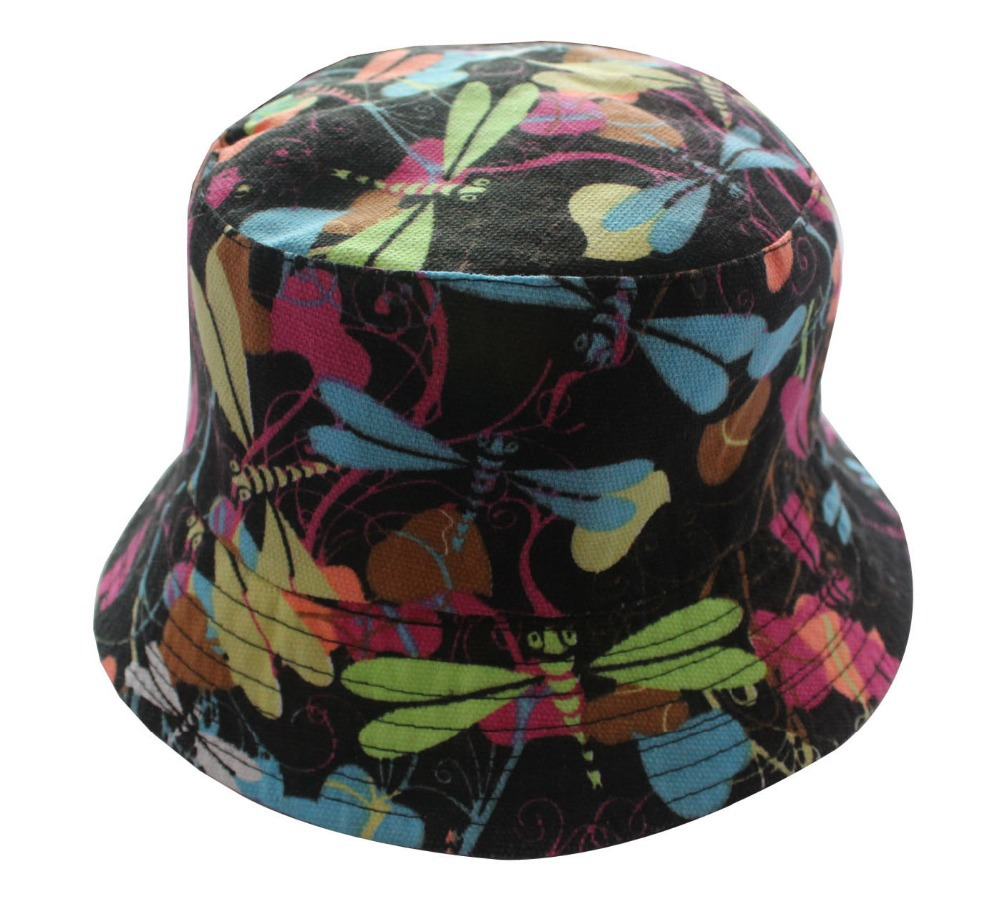 8694e1fefeb515 Get Quotations · Free Shipping 2015 New Fashion Outdoor Colorful Dragonfly Print  Bucket Fishing Hats Gorros Pescador For Women
