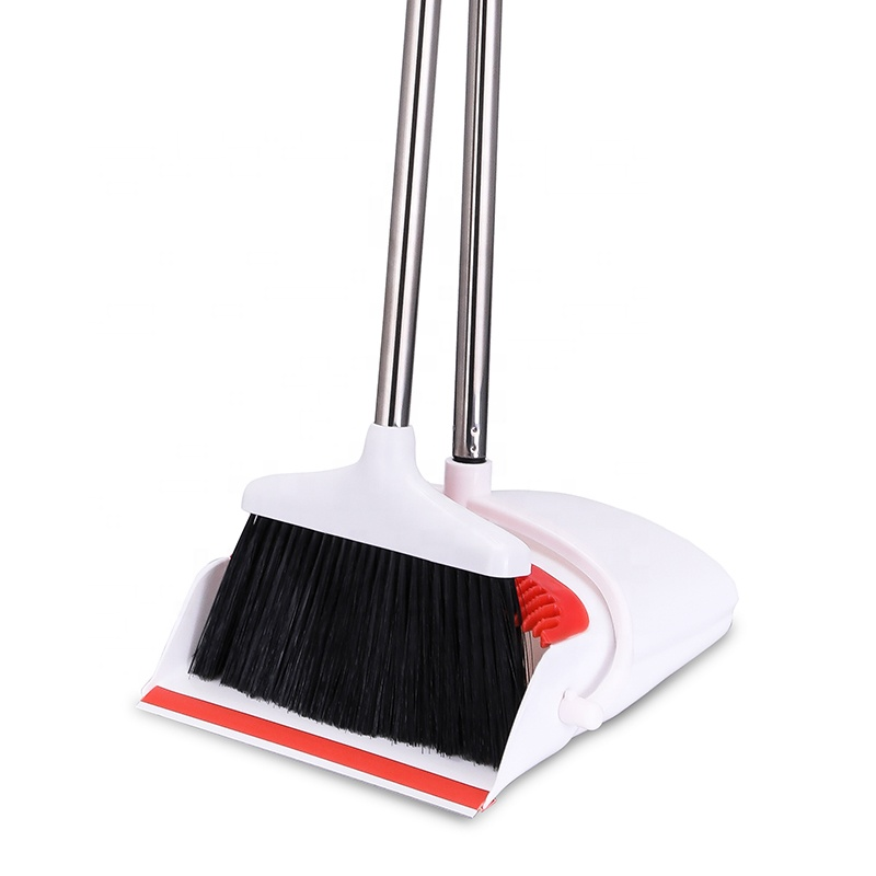 Lobby Dustpan And Broom Set 48 Inch Long Handle Upright