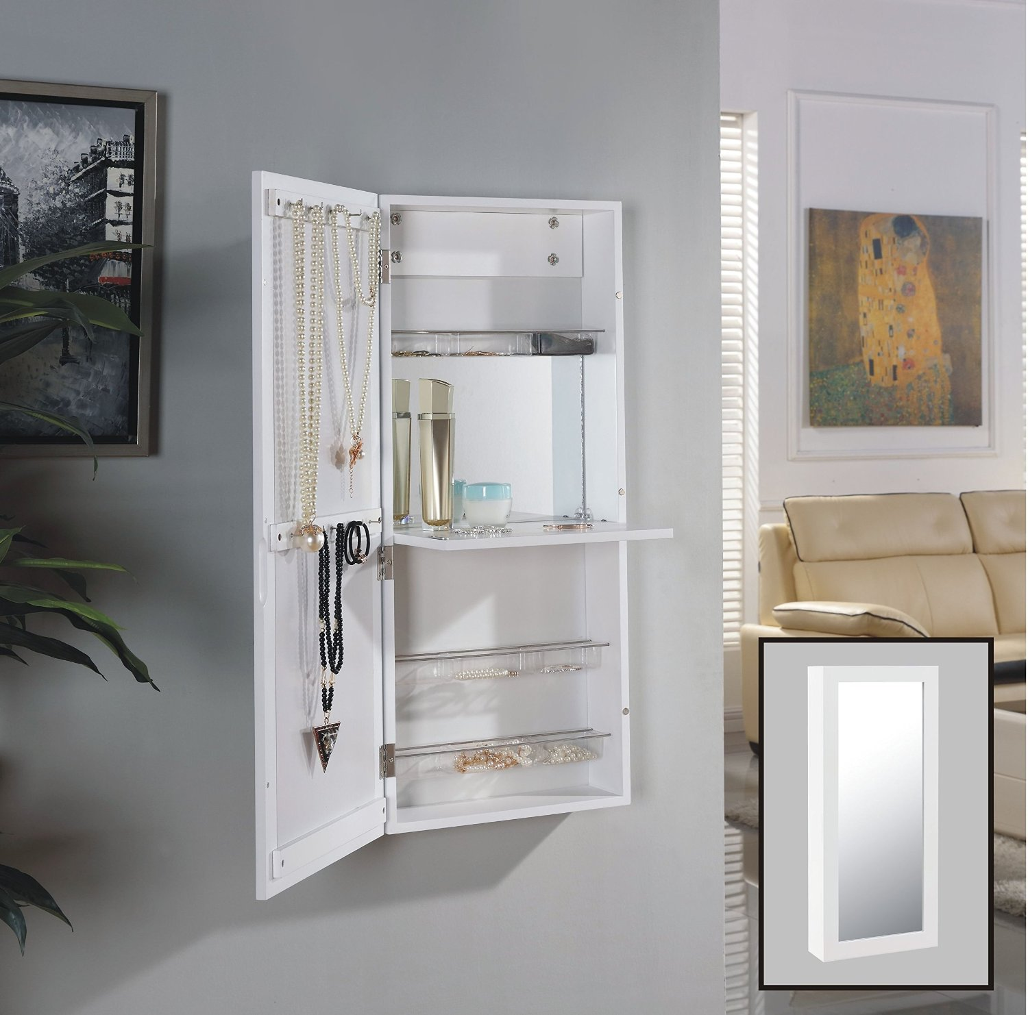 Get Quotations · Danya B White Over The Door Jewelry And Makeup Cabinet  Mirror With Interior Mirror And Drop