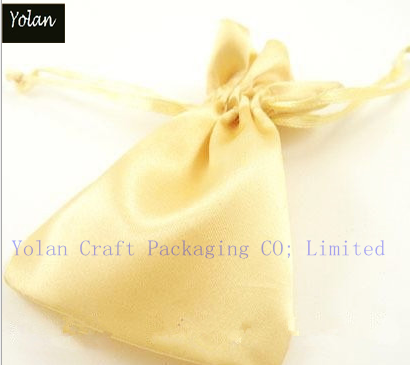 Custom Yellow Jewelry Satin Bag in Packaging bag