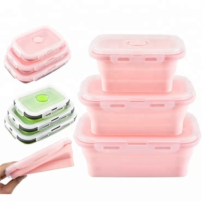 Eco friendly silicone food container foldable collapsible food storage box