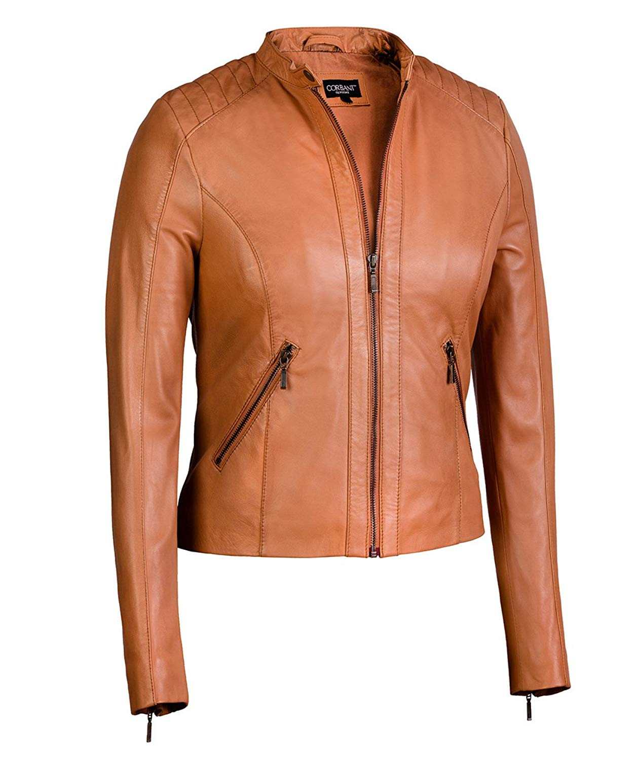 Women's Moto Jacket in Cognac from Soft Genuine Lambskin Leather (Large, Cognac)