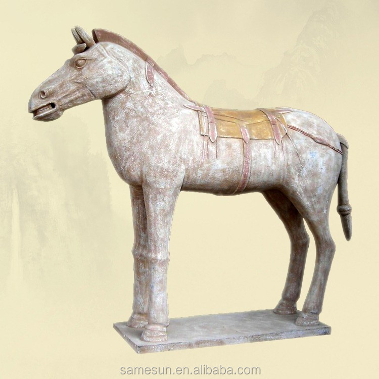 Meilun Art Crafts Terra Cotta Warriors Terracotta Horse Home Decoration History Souvenir Silver White Manufacturer Hot Sale