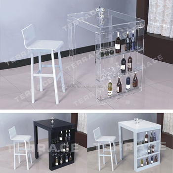 Lucite Mini Bar Table With Wine Rack Modern Acrylic Pub Tables