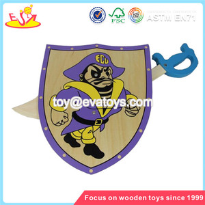 Wholesale fashionable wooden shield and sword toy popular cheap kids wooden shield toy W01B005