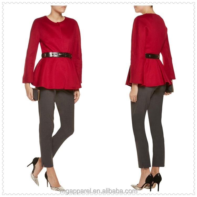 china new women elegant fashion long sleeve cashmere peplum jacket