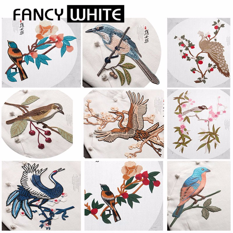 China factory custom polyester textile birds wholesale embroidery patches