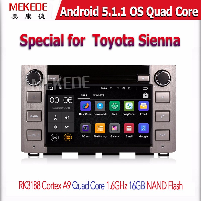 Pure android 4 2 car stereo dvd player cpu 1 6ghz ddr3 1gb memory 8gb - 4 Quad Core Pure Android 5 1 1 Car Dvd Player For Toyota