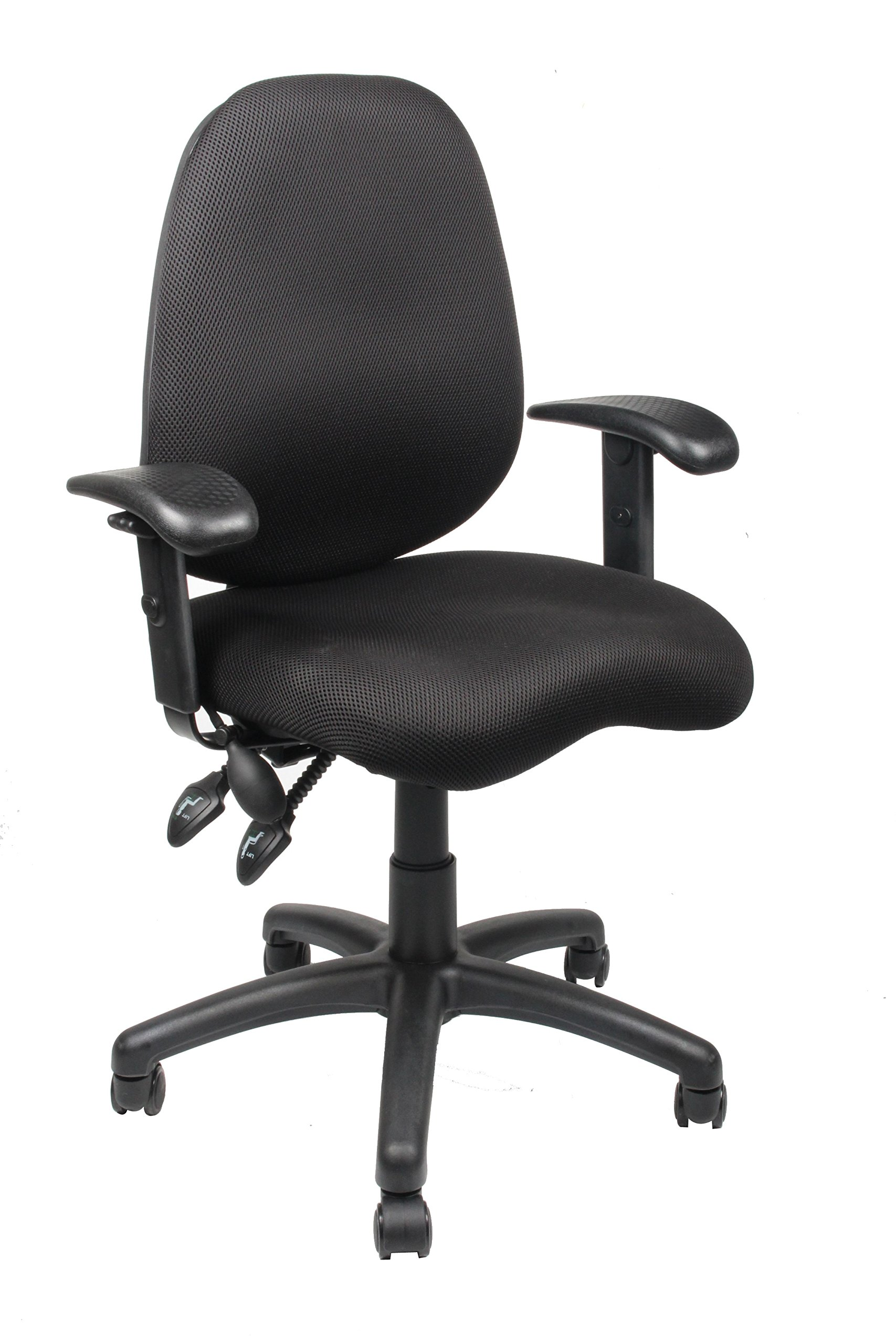 Office Factor Mesh Office Chair, Ergonomic Synchro Mechanism Office Task Computer Desk Chair. Double Handle Synchronized Mechanism With Adjustable Arm Rest and Lumbar Support