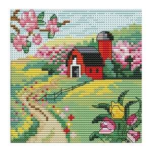 NKF The Suburban Four Seasons (Spring) Top Grade Precise Printed Cross Stitch Stitch Embroidery Set Home Wall Decoration
