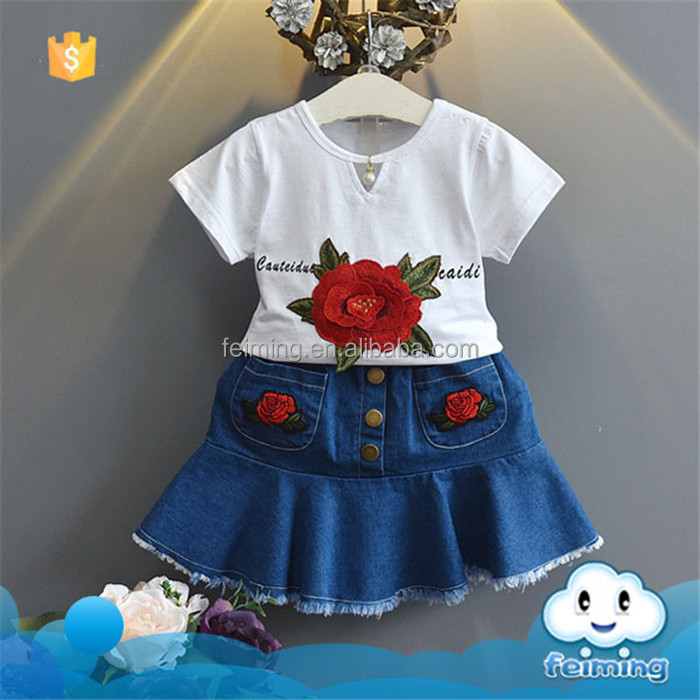 SS-860G best price kids wear tshirt and jeans short skirt with embroidered rose 2 pcs child girls set
