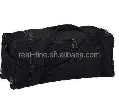Black Rolling Duffel Luggage Bag Wheeled Expandable Travel Trek Carry Sport Gear