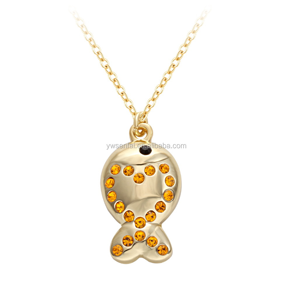 2017 newest design fish necklace expression statement necklace multiple Colour crystal necklace