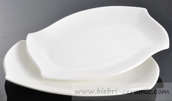 13\  Pure White Elegant Design High Quality Hotel Restaurant Ceramic Porcelain Rectangular Dinner Plates Dishes & 13\