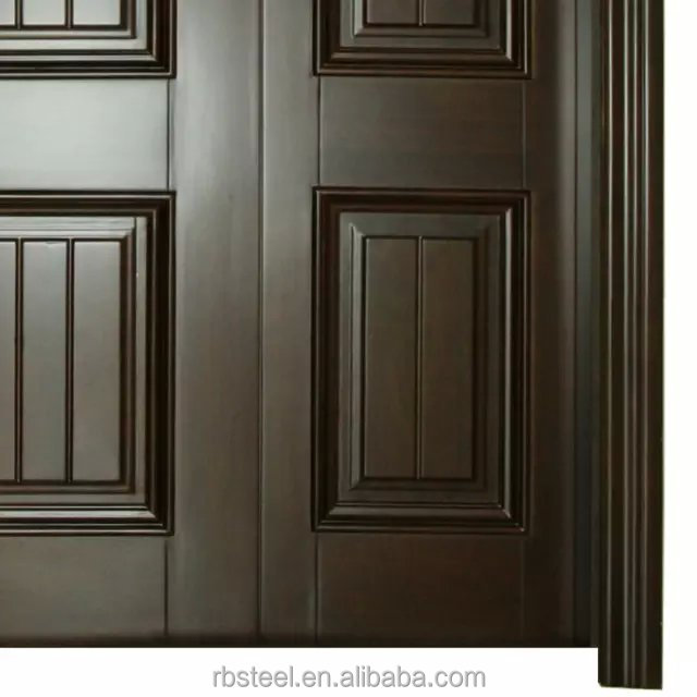 China made solid wood one small door and one big door for Main door design of wood
