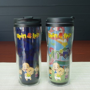 Double wall advertising plastic change color drinking thermos cup promotional souvenir magic water cup