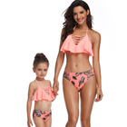 Wholesale Fashion design mom and me ruffle beautiful and cute sexy swimsuit Stripe front women swimwear