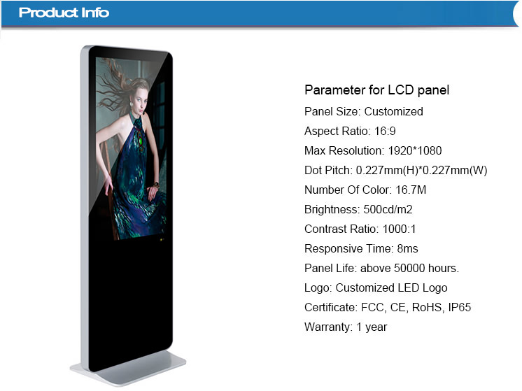 46 inch stand alone android advertising player for display shopping mall kiosk