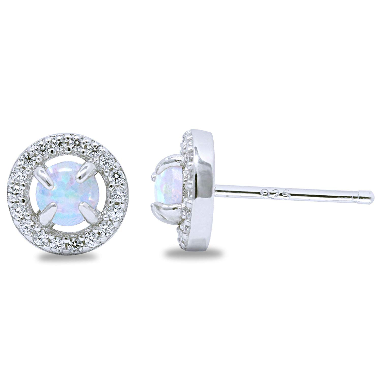 Rhodium Plated Sterling Silver Round Synthetic Opal Halo CZ Stud Earrings