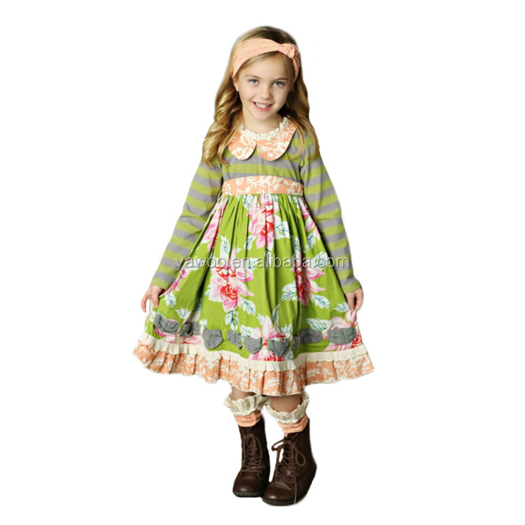 Yawoo 2017 wholesale baby floral patterns tunic fall fancy dress cutting baby girls dresses