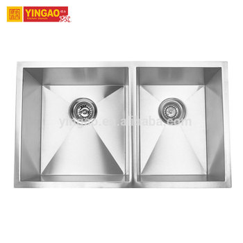 Customized stainless steel undermount double bowl kitchen sink