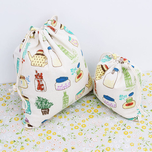 eco friendly wholesale milk bottle printed small cotton christmas drawstring bag 3 sizes