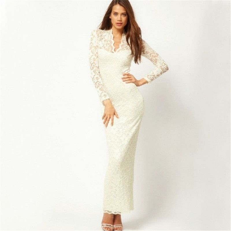 c0a3bdfa8d Autumn Summer Style Long Sleeve White Lace Elegant Slim Women Dress Sexy  Hollow Out V-