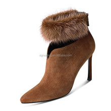 Fashion Faux fur Womens High Heel High Top Winter Snow Boots