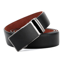 wholesale custom logo vintage casual plate buckle automatic strap official black ratchet fashion belts genuine leather man