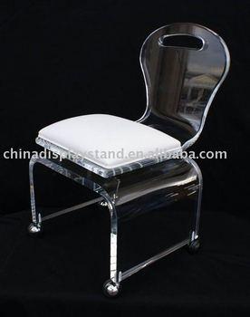 Ordinaire Acrylic Rolling Vanity Chair
