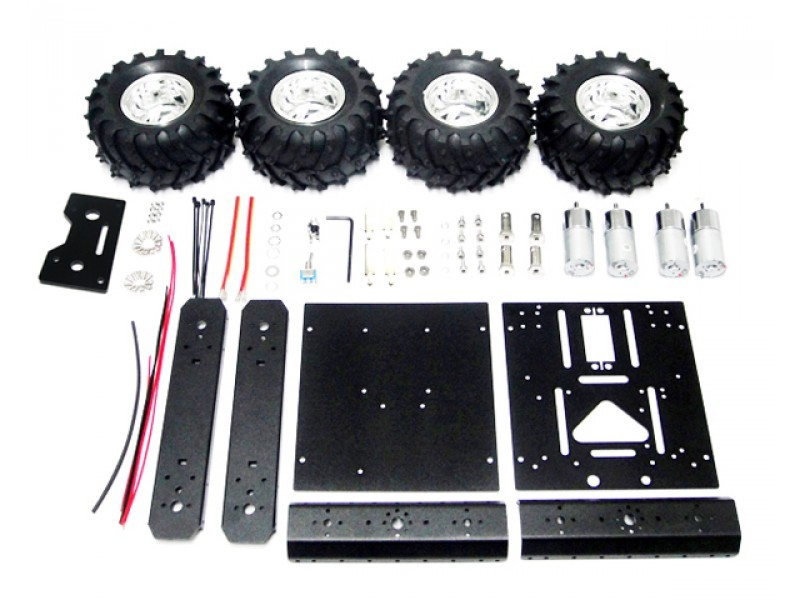 4WD Smart Car Chassis Robot Kit Aluminum Mobile Robot Platform with 4 DC Motors