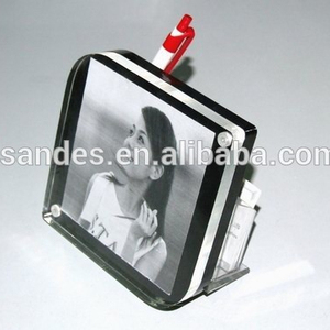 Clear Cheap Plastic Lucite 6x9 Photo Frame with Pen Holder