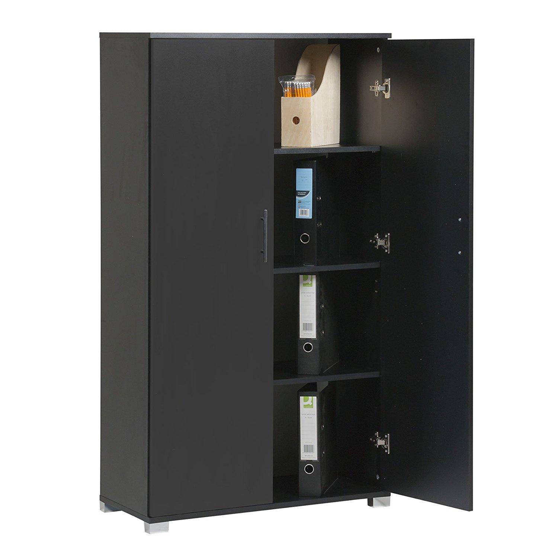 "MMT Black Pantry Cabinet Tall Cupboard / Office Storage Cupboard Filing Cabinet - Office Furniture, 4 Storage Shelves - 2 Door Cabinet - 31.5"" Wide - Massive Storage Capacity"