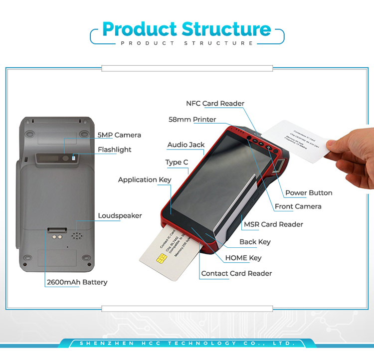 5.5inch Smart 3G 4G Handheld Android POS Device With Thermal Printer HCC-Z100
