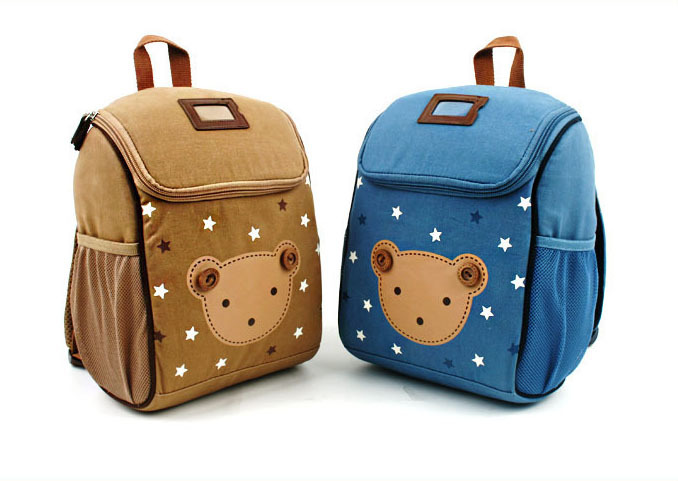Cotton Material Cartoon Bear Children Square Shoulders Backpack Lovely  Cartoon Animal School Bag For 2 To 5 Years Old Baby a662339bb2079