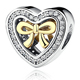 LZESHINE Trendy Love Heart Shape Golden Bow Charms 925 Sterling Silver Beads PSMB0919